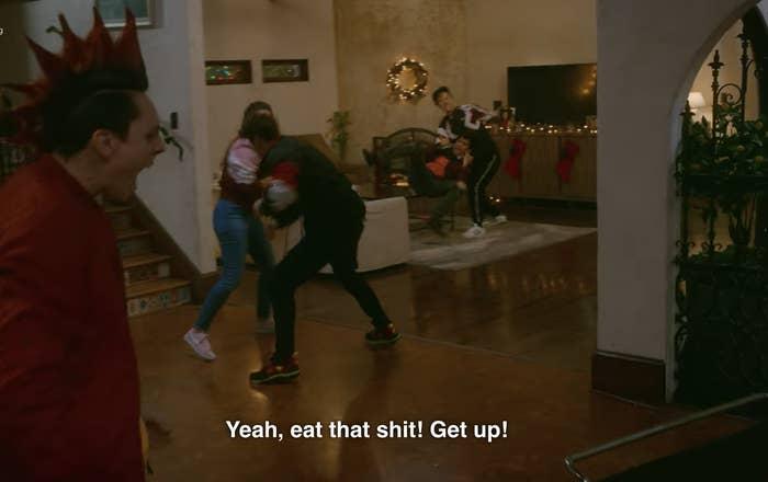 Fight scene on Cobra Kai Season 3