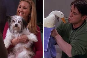 "Lisa Kudrow as Phoebe Buffay and Matt LeBlanc as Joey Tribbiani in the show ""Friends."""
