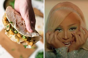 """On the left, someone holding a chicken wrap, and on the right, Doja Cat in the """"Say So"""" music video"""