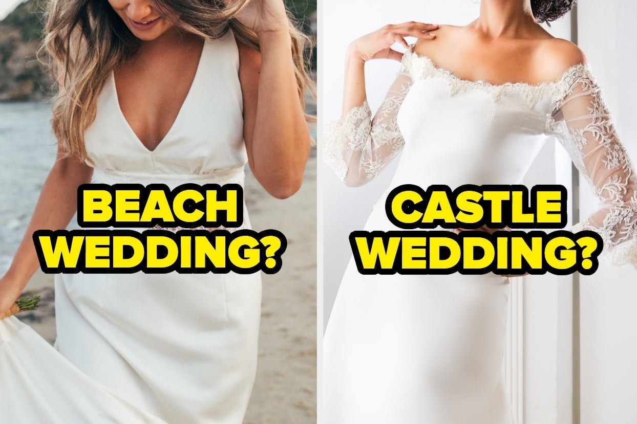 "A boho dress labeled ""beach wedding"" and an elegant dress labeled ""castle wedding"""