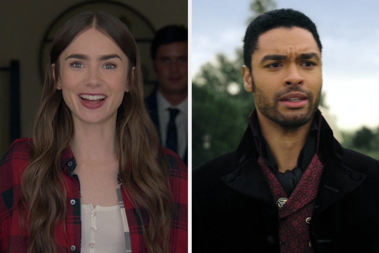 "On the left, Lily Collins as Emily in ""Emily in Paris,"" and on the right, Regé-Jean Page as Simon in ""Bridgerton"""