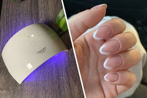 UV lamp and BuzzFeed employee's nails