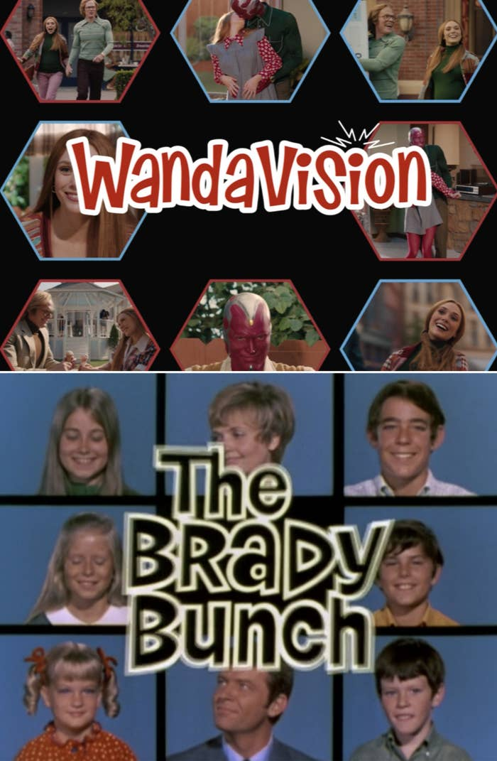 The WandaVision Episode 3 title card vs. The Brady Bunch opening title card