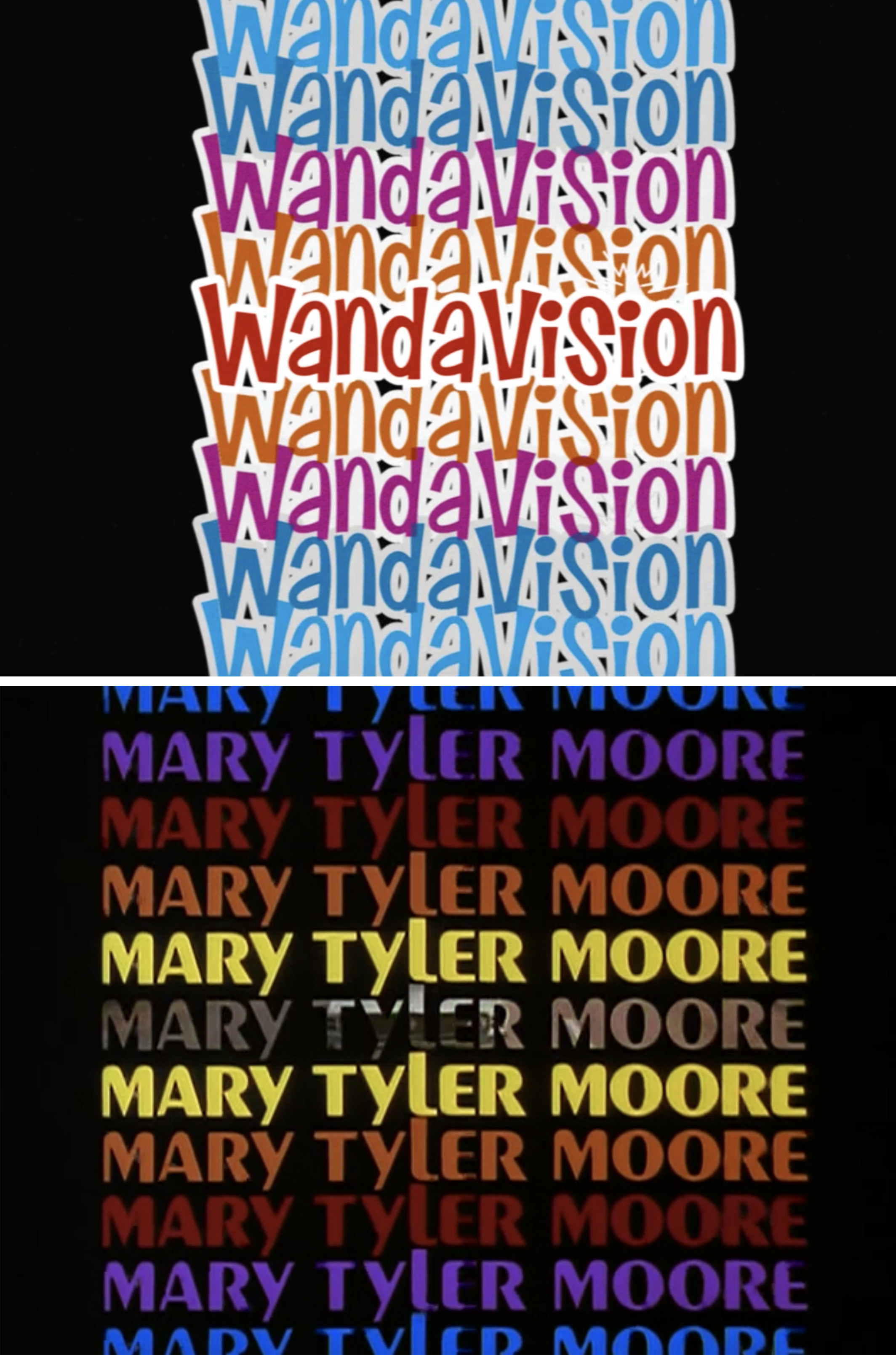 The colorful WandaVision credits compared to the colorful Mary Tyler Moore opening credits