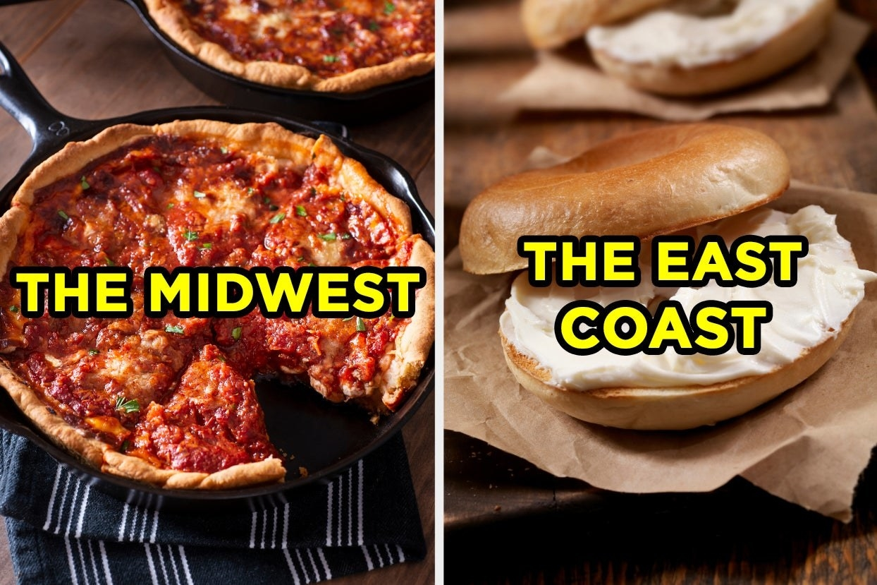"On the left, a deep dish pizza labeled ""the midwest,"" and on the right, a bagel with cream cheese labeled ""the east coast"""