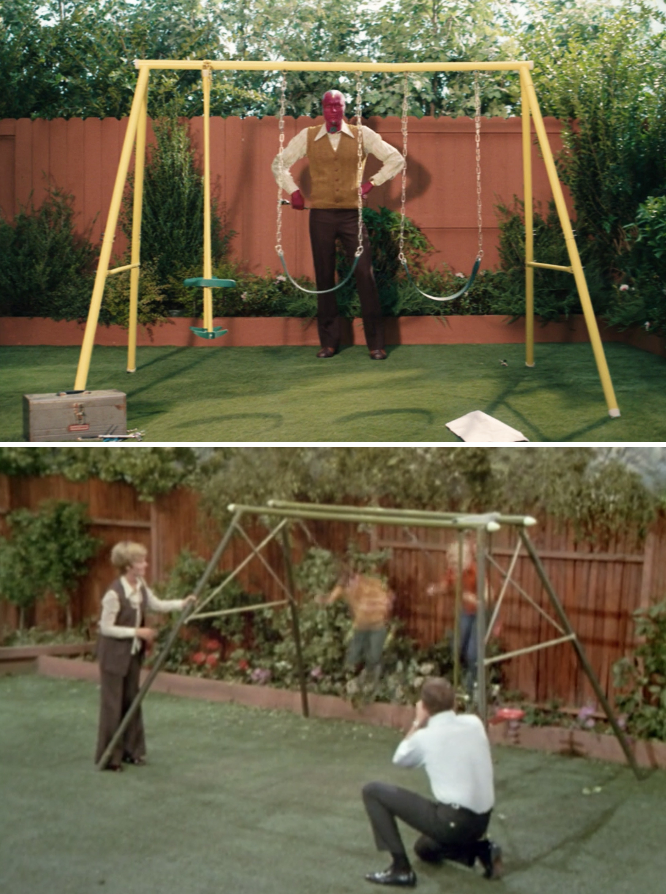 "Vision's yellow swing set vs. The Bradys's green one in ""The Brady Bunch"""