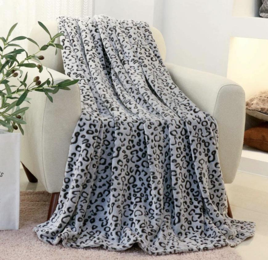 grey leopard throw blanket