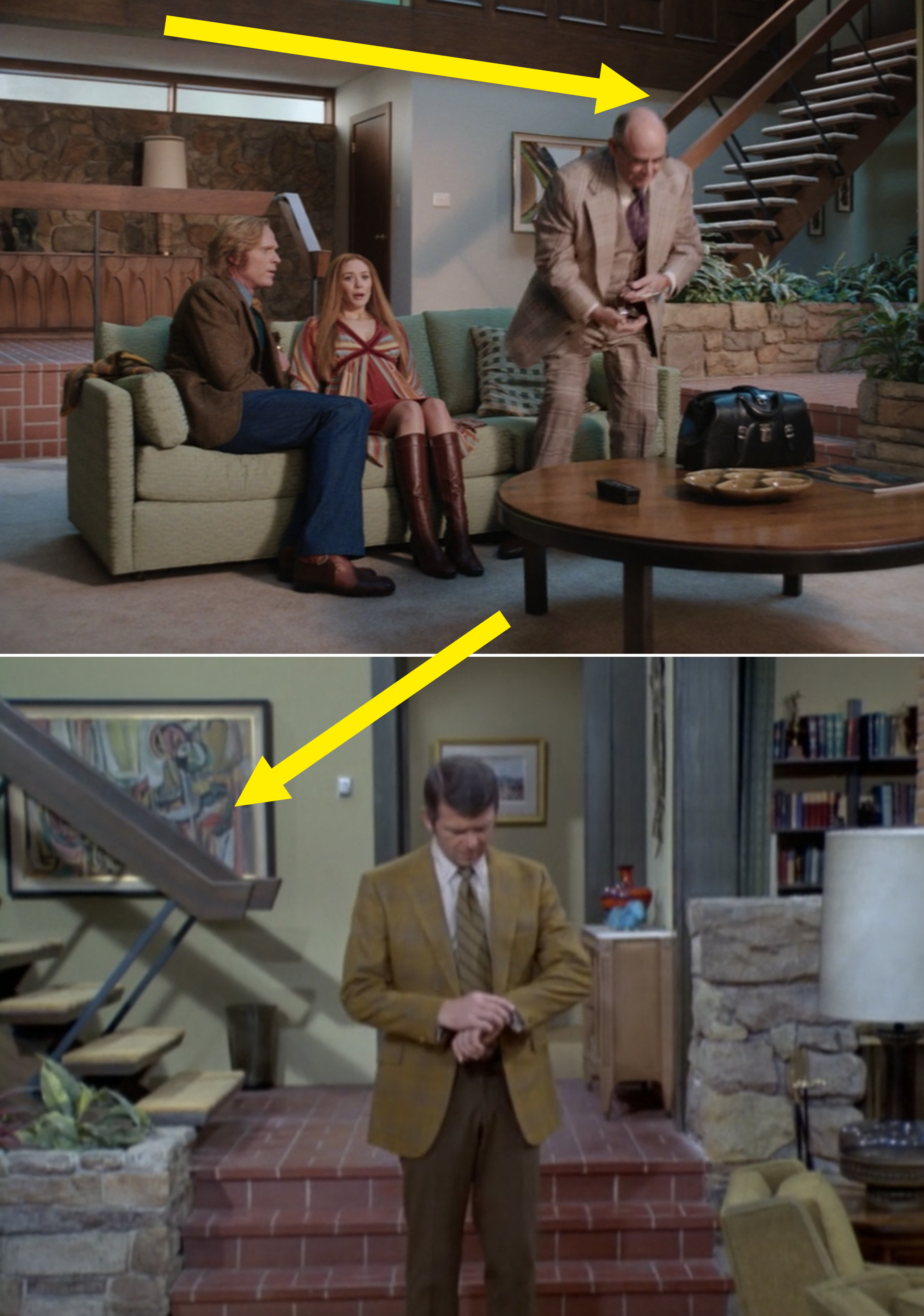The stairs in WandaVision vs. the stairs and living room in The Brady Bunch