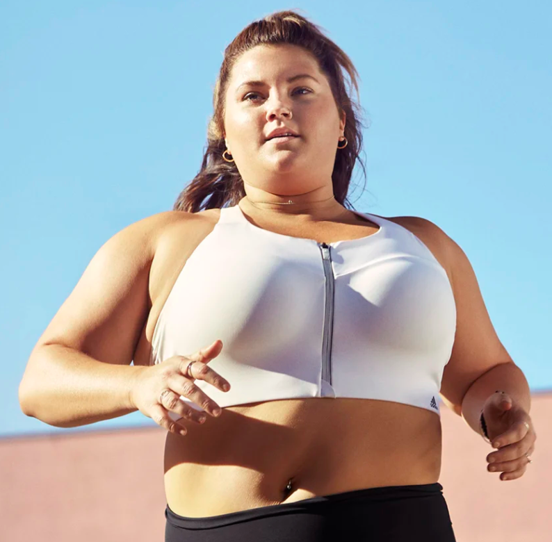 A person wearing the sports bra while running