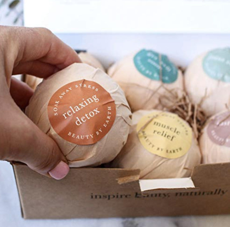bath bomb set in packaging