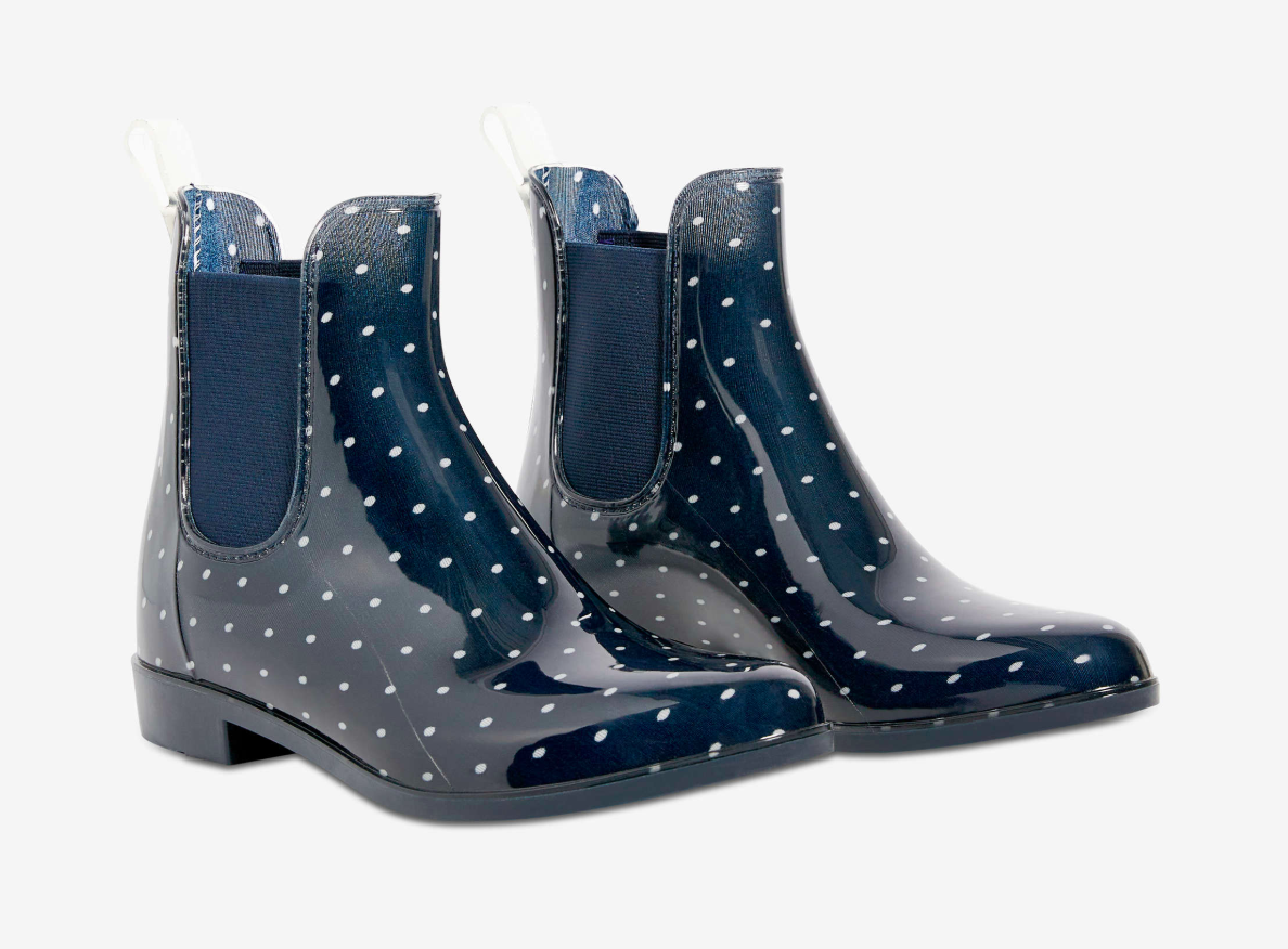 A pair of rain boots on a plain background
