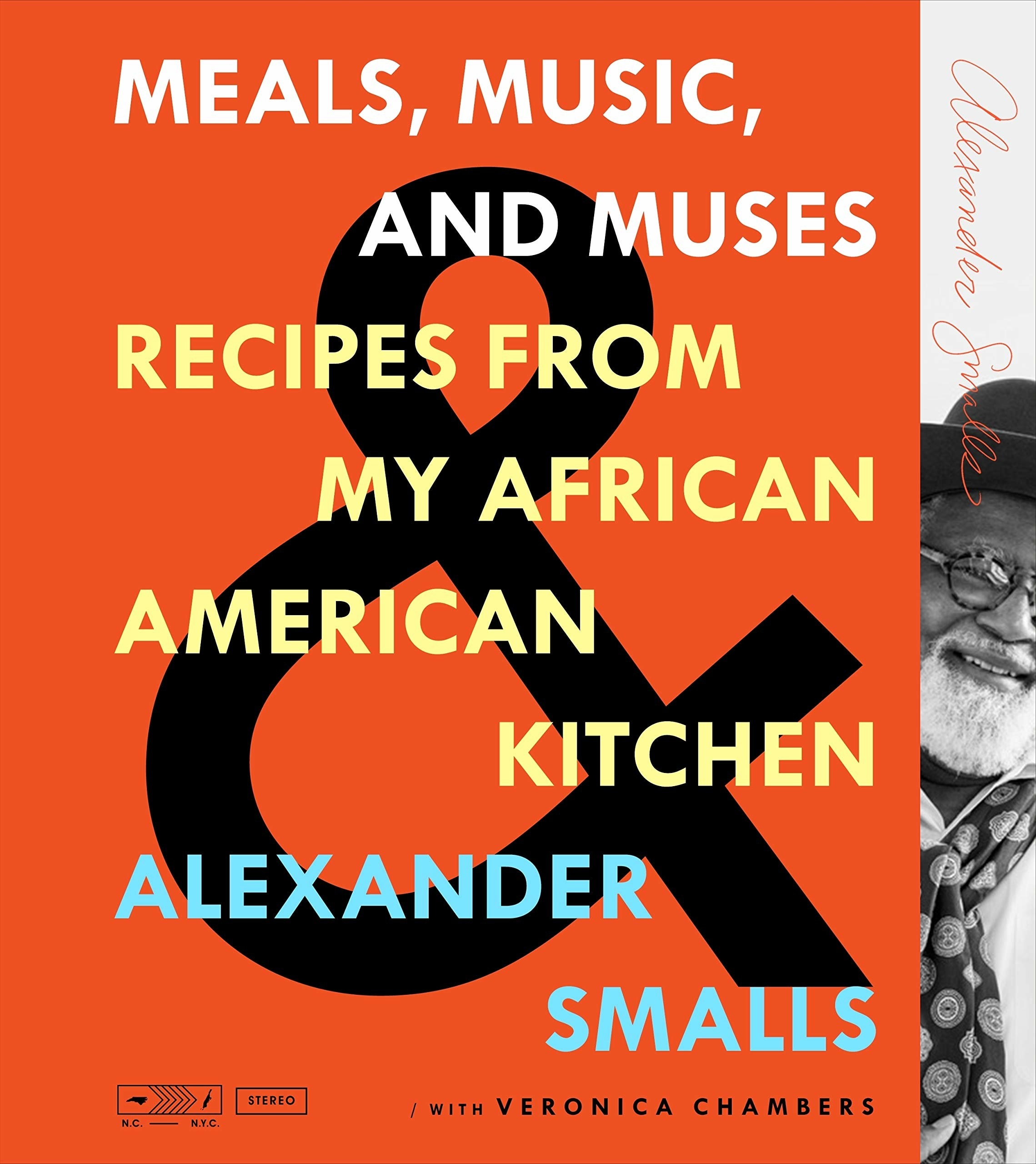 The cover of the cookbook with a black and white portrait of Alexander Smalls