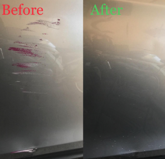 before/after photo of reviewer's car with scratches and then without after using the kit