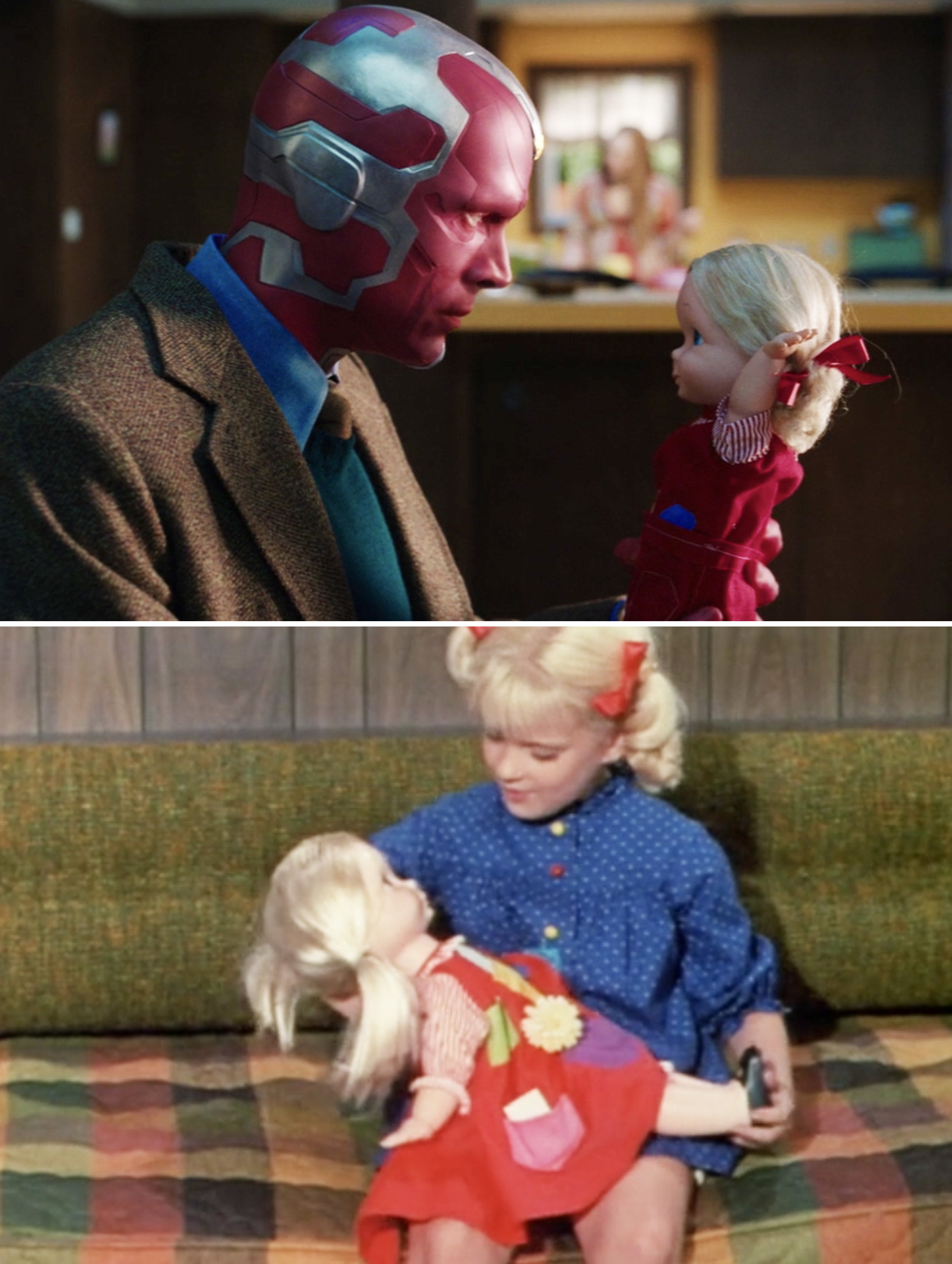 Vision holding a doll vs. Cindy holding her Kitty Karry-All doll