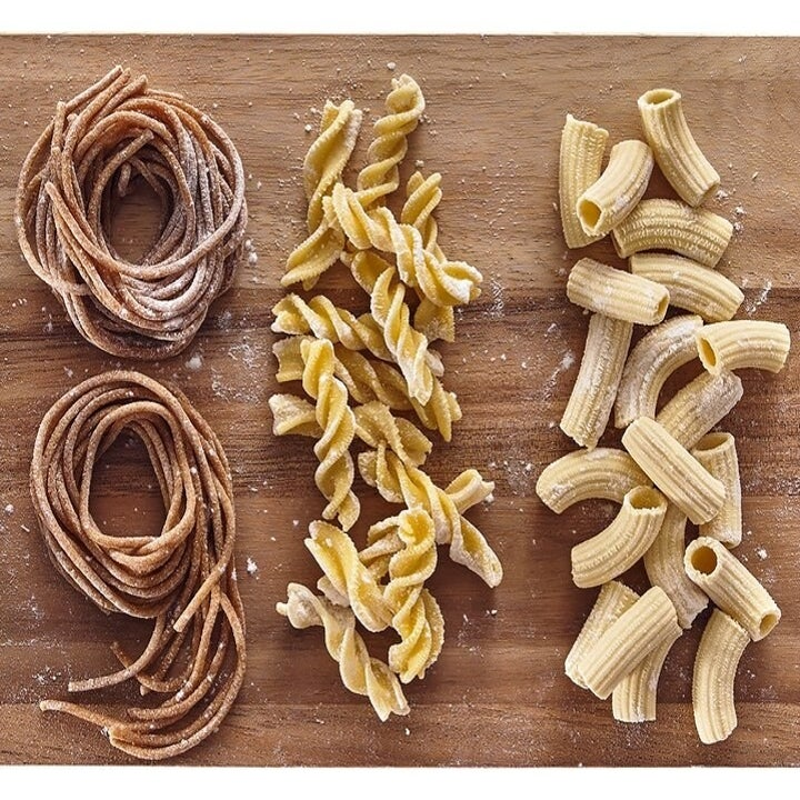 Several of the pasta shapes that can be made