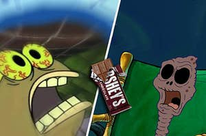 Two spongebob characters obsessing over chocolate