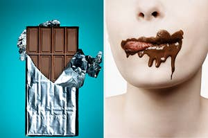 A person with chocolate all over their mouth