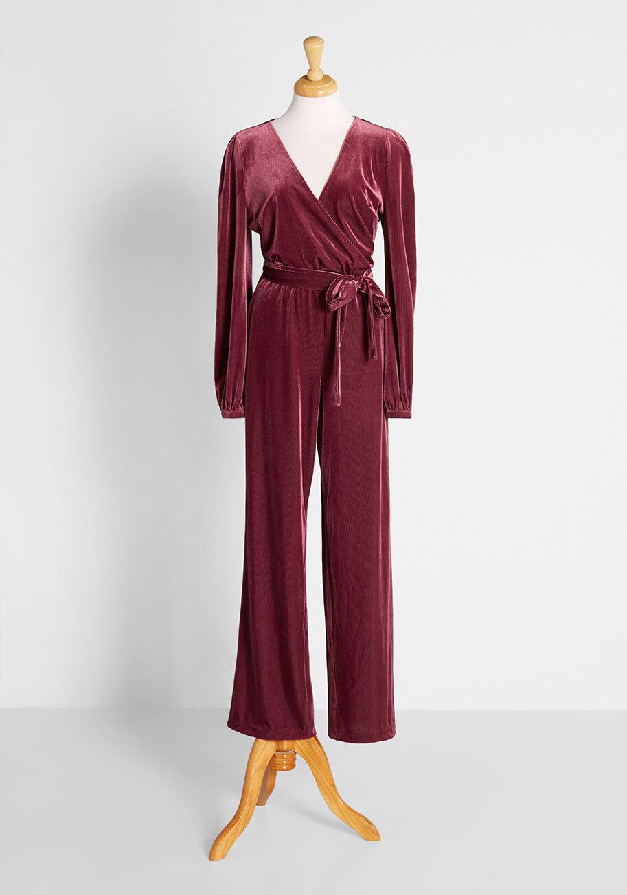 the sleeved V-neck velvet jumpsuit