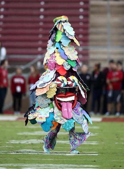 Multi-colored tree mascot