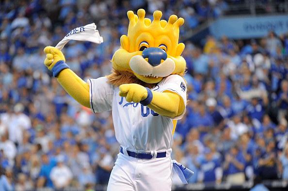 Royals' lion mascot wielding a flag.
