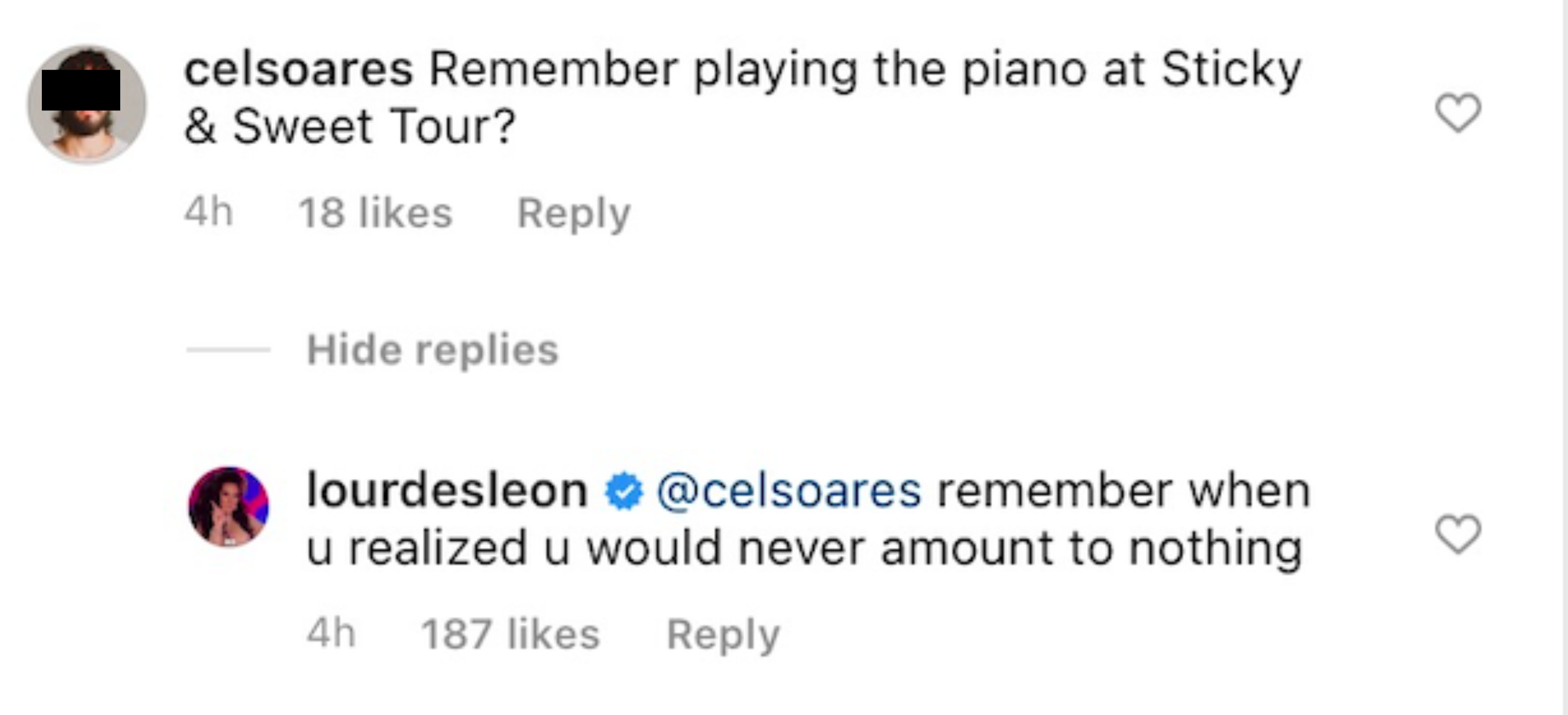 """The commenter had only asked """"Remember playing the piano at Sticky & Sweet Tour"""" before getting dragged by Madonna's daughter"""