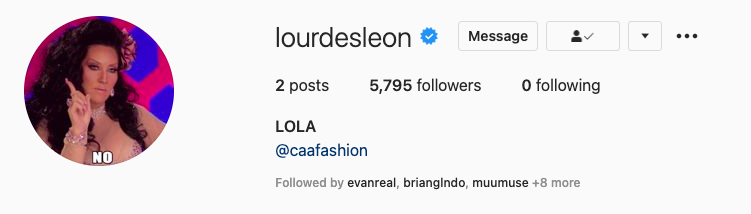 """Lourdes' bio picture is an image of RuPaul's Drag Race judge Michele Visage saying """"No"""""""