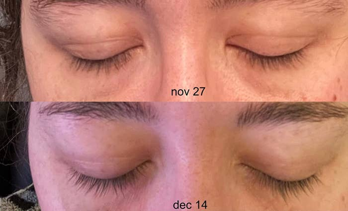 reviewer showing before and after of short lashes on Nov 27 and slightly longer lashes on Dec 14