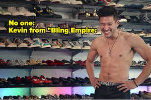 Kevin standing topless in front of a shoe wall