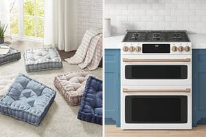 On the left, square floor pillows. On the right, a pretty oven