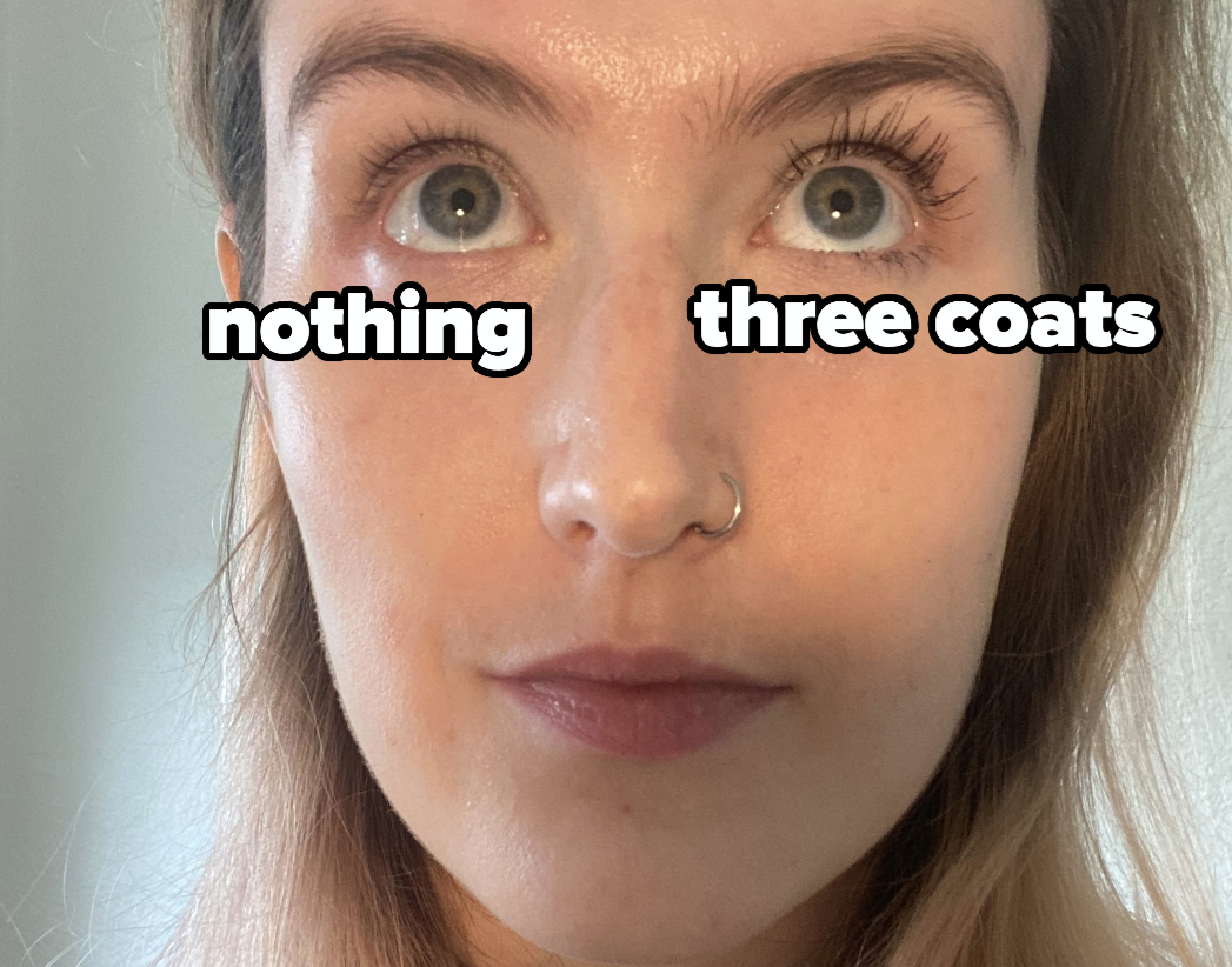 The lashes on my left eye looking longer, thicker,  and much darker than the lashes on my right eye