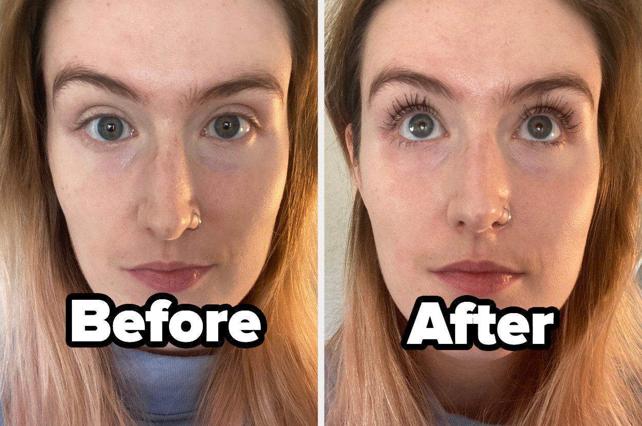 A before picture with my mascara-free lashes, practically invisible, and an after picture with lashes that look about an inch long