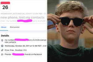 "a ""new phone, lost contacts"" group and an image of Brian in the Breakfast Club putting on sunglasses"