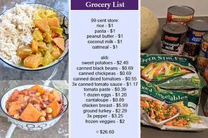 homemade meals next to a grocery shopping list and canned goods