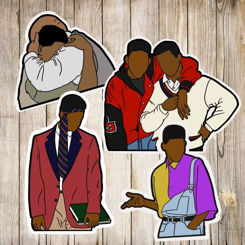 the four stickers featuring two of Will, one of him and carlton, and one of him hugging uncle phil