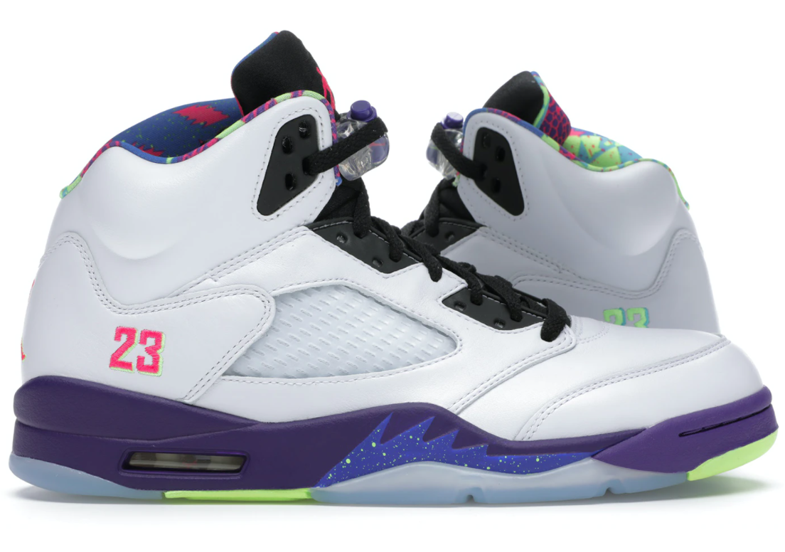 the jordan 5 sneakers in white with purple, pink, green, blue, and black details