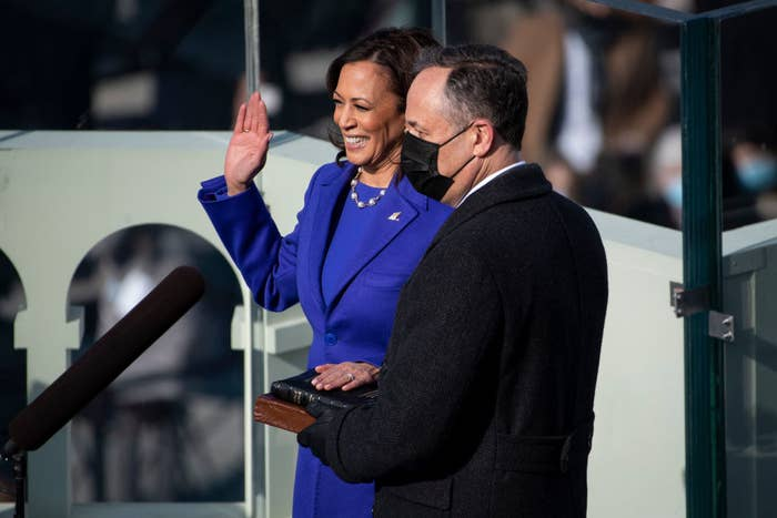 Kamala Harris being sworn in as vice president.