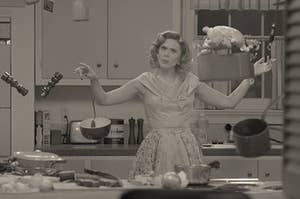 a woman in the 1950s is in her kitchen, food floating around her head