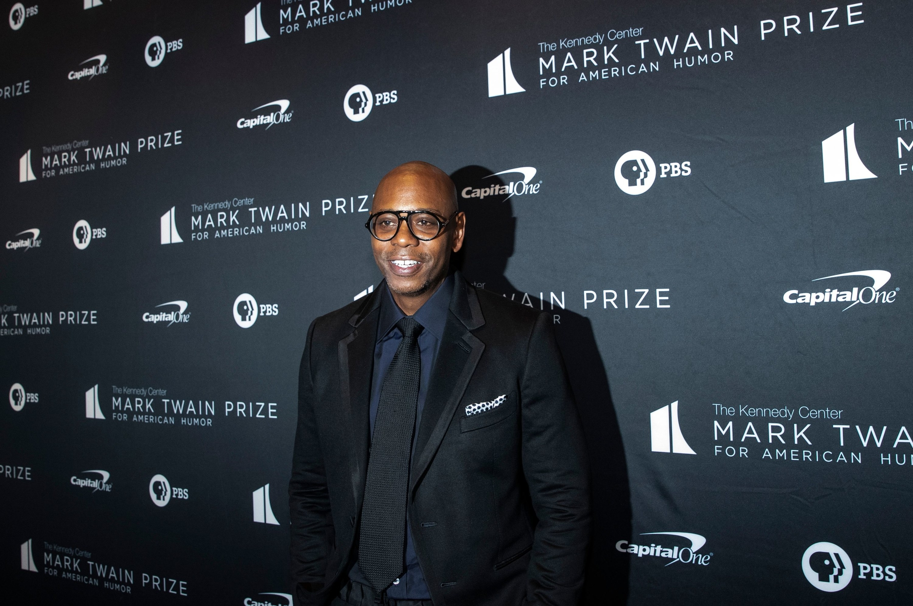 Comedian Dave Chappelle arrives at the Kennedy Center for the Mark Twain Award for American Humor