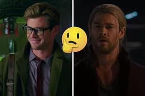 Chris Hemsworth is on the left posed as a nerd and a superhero on the right with a think face emoji in the center