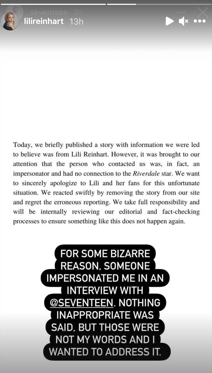 Lili confirms in an Instagram story that someone impersonated her in an interview