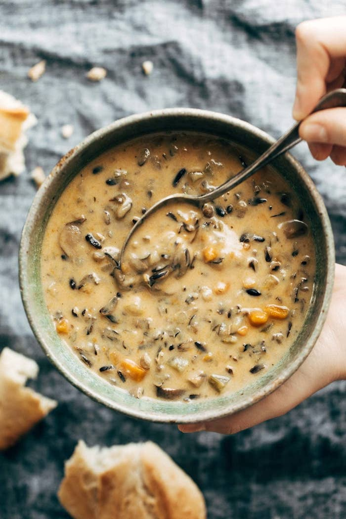 Bowl of wild rice soup