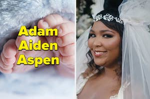 "Baby feet are on the left labeled, ""Adam, Aiden, Aspen"" with Lizzo on the right in a wedding dress"