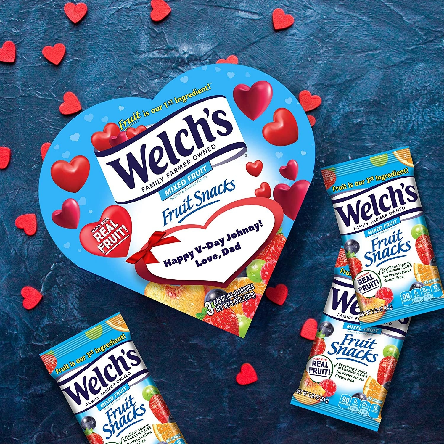 welch's fruit snack packs around heart shaped box with room for personal message