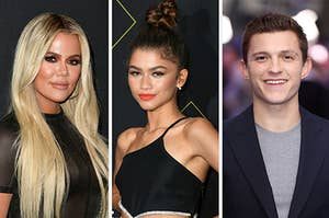 Khlow Kardashian is on the left with Zendaya posing in the center and Tom Holland on the right