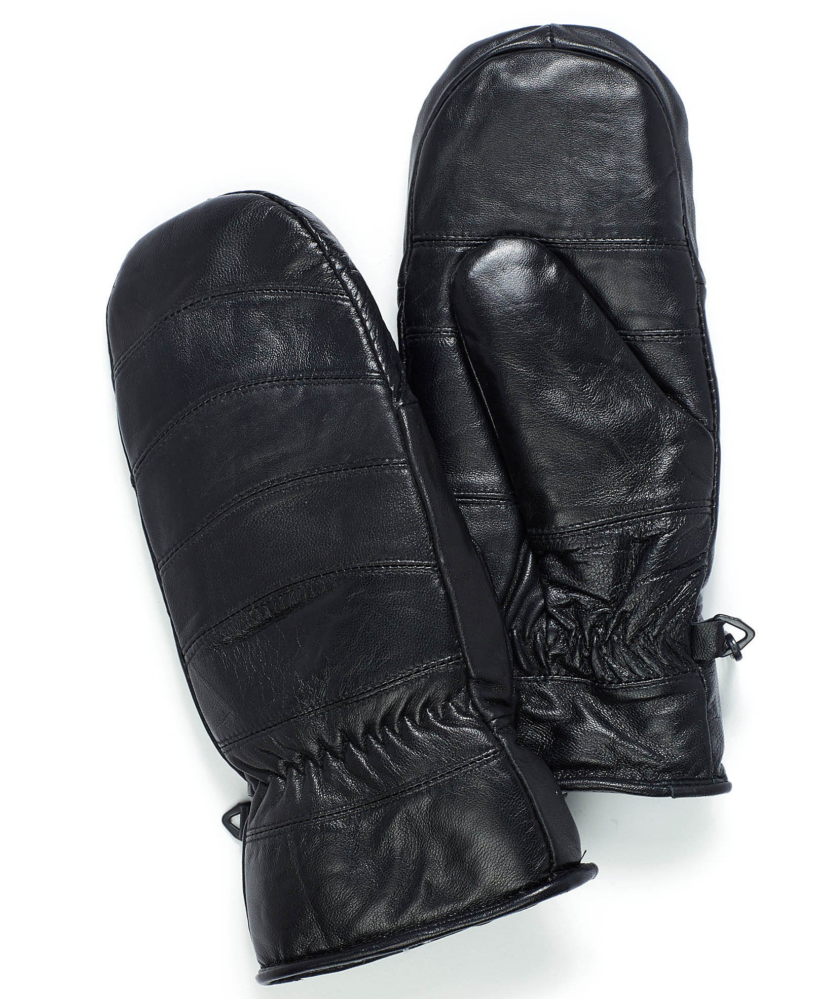 A pair of leather mittens