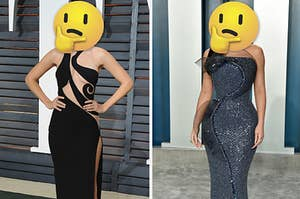Gigi Hadid and Kylie Jenner are standing at a Vanity event with their faces unrevealed with an emoji