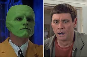 The Mask is on the left with tight lips and Jim Carrey as Lloyd on the right