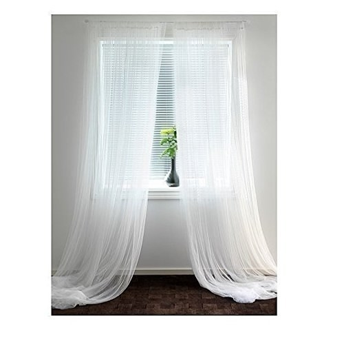 White sheer curtains.