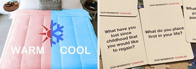 L: dual-side comforter on bed R: conversation starter cards for couples with questions like