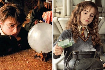 Hermione concocting a potion next to Harry looking into a crystal ball